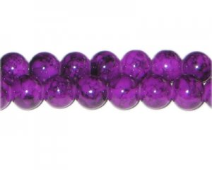 10mm Purple Marble-Style Glass Bead, approx. 21 beads