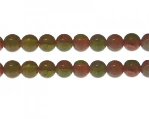 12mm Carnelian/Olive Duo-Style Glass Bead, approx. 14 beads
