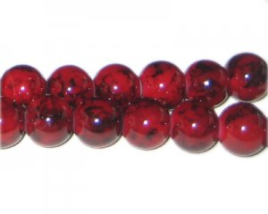 12mm Deep Red Marble-Style Glass Bead, approx. 18 beads
