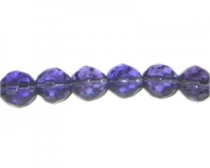 "12mm Purple Faceted Round Glass Bead, 13"" string"