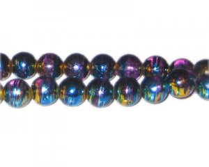 10mm Purple Pulse Abstract Glass Bead, approx. 22 beads