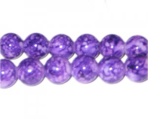 12mm Light Purple Marble-Style Glass Bead, approx. 18 beads