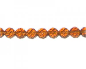 "8mm Golden Brown Faceted Round Glass Bead, 12"" string"