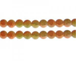 10mm Carnelian/Citrine Duo-Style Glass Bead, approx. 16 beads