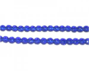 "4mm Blue Faceted Round Glass Bead, 12"" string"
