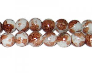 12mm Bronze SilverLeaf-Style Glass Bead, approx. 17 beads