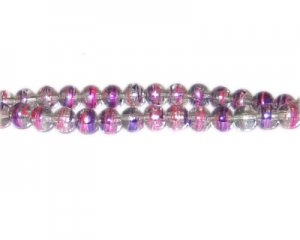 6mm Purple Pop Abstract Glass Bead, approx. 70 beads