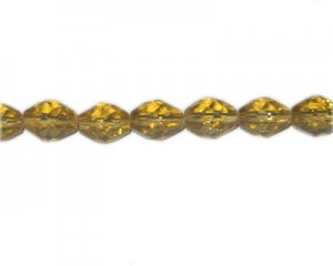 "14 x 10mm Gold Faceted Oval Glass Bead, 12"" string"