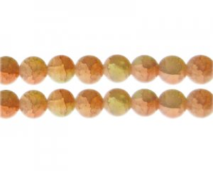 12mm Carnelian/Citrine Duo-Style Glass Bead, approx. 14 beads