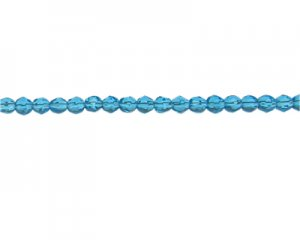 "6mm Turquoise Faceted Glass Bead, 14"" string"
