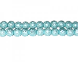 8mm Baby Blue Rustic Glass Pearl Bead, approx. 56 beads