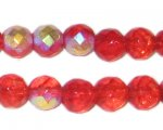 10mm Red AB Finish Fire Polish Glass Bead, approx. 1oz. bag