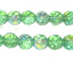 10mm Light Green Round Fire Polish Glass Bead