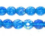 10mm Turquoise AB Finish Fire Polish Bead, approx. 32 beads