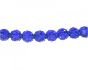 "10mm Royal Blue Faceted Round Glass Bead, 13"" string"