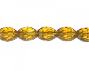 "16 x 12mm Gold Faceted Oval Glass Bead, 13"" string"