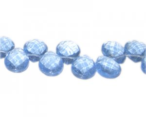 "14 x 10mm Sky Blue Faceted Drop Glass Bead, 16""string"