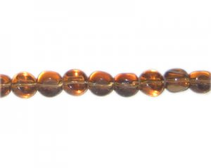 "8mm Brown Pressed Glass Pebble Semi-Opaque Bead, 14"" string"