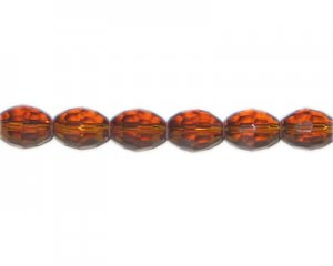 "12 x 10mm Golden Brown Faceted Oval Glass Bead, 13"" string"