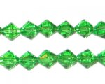 8mm Grass Green Bi-cone Fire Polish Glass Bead