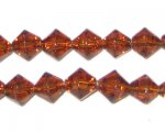 8mm Brown Bi-cone Fire Polish Glass Bead