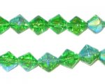 8mm Grass Green Bi-cone AB Finish Fire Polish Glass Bead