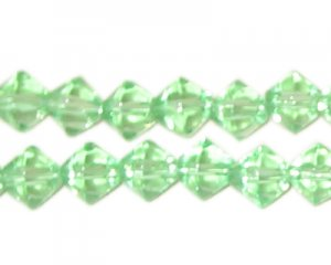 8mm Light Green AB Finish Bi-cone Fire Polish Glass Bead