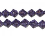 8mm Purple Bi-cone Fire Polish Glass Bead