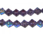 8mm Purple Bi-cone AB Finish Fire Polish Glass Bead