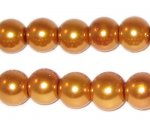 10mm Round Yellow Gold Glass Pearl Bead, approx. 22 beads