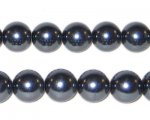 "10mm Charcoal Glass Pearl Bead - 8"" string, approx. 22 beads."