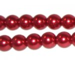10mm Round Red Glass Pearl Bead, approx. 22 beads