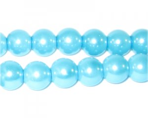 10mm Round Turquoise Glass Pearl Bead, approx. 22 beads