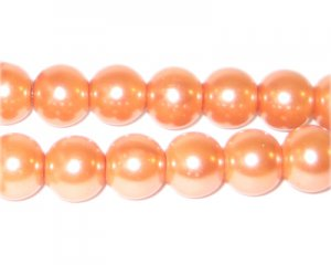 10mm Round Peach Glass Pearl Bead, approx. 22 beads