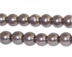 10mm Round Cocoa Glass Pearl Bead, approx. 22 beads