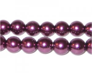 10mm Round Crimson Glass Pearl Bead, approx. 22 beads