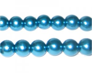 10mm Cyan Glass Pearl Bead, approx. 22 beads