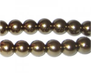 10mm Antique Gold Glass Pearl Bead, approx. 22 beads