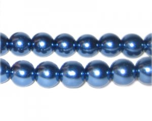 10mm Indigo Glass Pearl Bead, approx. 22 beads