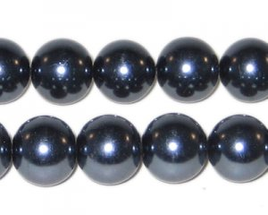 12mm Round Charcoal Glass Pearl Bead,approx. 18 beads