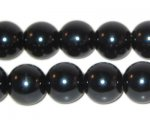 "12mm Round Black Glass Pearl Bead, 8"" string, approx. 18 beads"