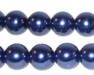 "12mm Round Royal Blue Glass Pearl, 8"" string, approx. 18 beads"