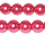 12mm Round Deep Fuchsia Glass Pearl Bead, approx. 18 beads