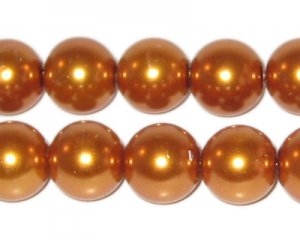 "12mm Round Gold Glass Pearl Bead - 8"" string, approx. 18 beads"