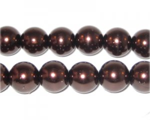12mm Round Chocolate Glass Pearl Bead, approx. 18 beads