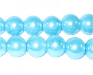 12mm Round Turquoise Glass Pearl Bead, approx. 18 beads