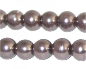 12mm Round Cocoa Glass Pearl Bead, approx. 18 beads