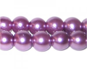 12mm Round Violet Glass Pearl Bead, approx. 18 beads