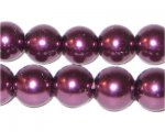 "12mm Round Crimson Glass Pearl Bead, 8"" string, approx. 18 beads"