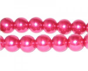 12mm Magenta Glass Pearl Bead, approx. 18 beads